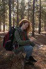 Вид сбоку на женщину, смотрящую компас в лесу — стоковое фото