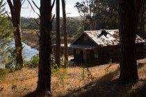 Log cabin near lakeside in forest on a sunny day — Fotografia de Stock