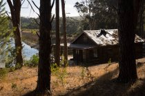 Cabana, perto do lago na floresta em um dia ensolarado — Fotografia de Stock
