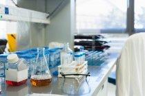 Fiole conique verrerie avec solution sur table en laboratoire scientifique — Photo de stock