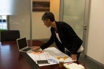 Donna d'affari matura che utilizza il computer portatile alla scrivania in ufficio — Foto stock