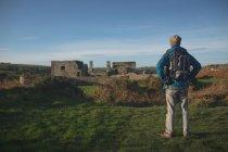 Vista posterior de hombre excursionista de pie con la mochila en el campo - foto de stock