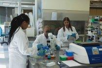 Scientifiques faisant des expériences ensemble en laboratoire — Photo de stock