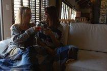 Лесбиянки пьют бокалы красного вина в гостиной дома — стоковое фото