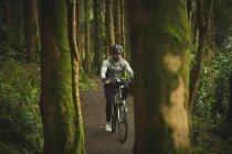Велосипедист в спортивной одежде на велосипеде по пышным лесам — стоковое фото