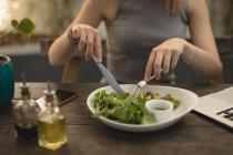 Mittleren Bereich der jungen Frau essen Salat in einem Coffee shop — Stockfoto