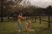 Adolescente, brincando com o cachorro na fazenda — Fotografia de Stock
