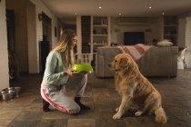 Девочка-подросток кормит собаку дома — стоковое фото