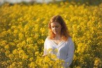 Donna che tocca i raccolti nel campo di senape in una giornata di sole — Foto stock