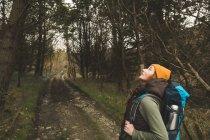 Женщина-туристка с рюкзаком озирается в лесу — стоковое фото