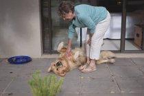 Старший жінка грає з собакою на дому — стокове фото