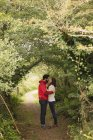 Affectionate couple kissing under tree canopy — Stock Photo