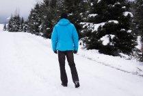 Rear view of man walking in snowy landscape. — Stock Photo