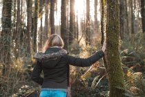 Rear view of blonde woman leaning on tree while standing in forest. — Stock Photo