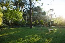 Empty swing in garden on a sunny day — Fotografia de Stock