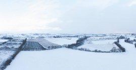 Luftaufnahme der verschneiten Landschaft der Landschaft in der Grafschaft Cork, Irland — Stockfoto