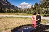 Couple regardant les montagnes enneigées par une journée ensoleillée — Photo de stock