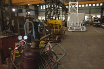 Nahaufnahme der Sauerstoffflasche in Werkstatt — Stockfoto