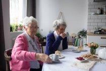 Старшие друзья завтракают вместе дома — стоковое фото