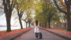 Businesswoman with baggage standing on street during autumn — Stock Photo