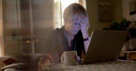 Беспокойная зрелая женщина использует ноутбук в гостиной на дому — стоковое фото