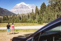 Vue arrière du couple regardant les montagnes enneigées — Photo de stock