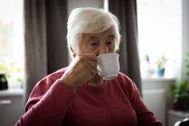 Senior mulher tomando xícara de chá na sala de estar em casa — Fotografia de Stock