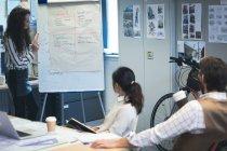 Vorführen der Präsentation an Kollegen über Flip-Chart im Büro Executive — Stockfoto