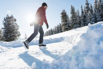 Man skating in snowy woodland during winter, low angle view. — Stock Photo