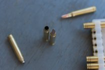 Close-up view of bullets kept on table — Stock Photo