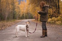 Woman standing on the road with her pet dog during autumn — Stock Photo