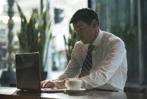 Бізнесмен, використовуючи ноутбук у готельному фойє — стокове фото