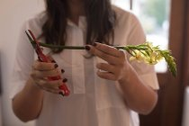 Mid section of woman cutting stem of flower at home — Stock Photo