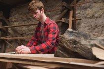 Giovane falegname maschio che lavora in officina — Foto stock