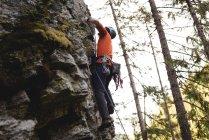 Grimpeur déterminé grimper la falaise rocheuse — Photo de stock
