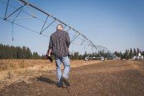 Задній вид фермер ходити в поле у сонячний день — стокове фото