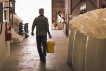 Vue arrière de l'homme emportant avec seau rempli de grains en usine — Photo de stock