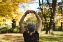 Vista posterior de senior mujer practicando yoga en un parque en un día soleado - foto de stock