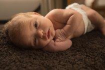 Nouveau-né relaxant sur une couverture brune à la maison . — Photo de stock