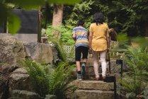 Vista posteriore di madre e figlio che camminano nel giardino — Foto stock
