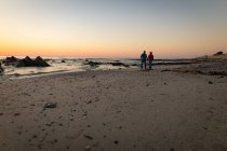 Rückansicht des Älteres Paar zu Fuß am Strand bei Sonnenuntergang — Stockfoto