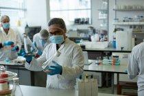 Scientifiques expérimentant ensemble en laboratoire — Photo de stock