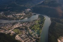 Aerial view of beautiful river and rural area — Stock Photo