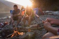 Група друзів опалення хот-дог біля багаття — стокове фото