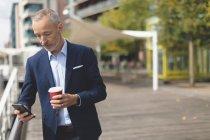 Empresário usando telefone celular no passeio em um dia ensolarado — Fotografia de Stock