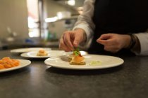 Закрити ip шеф-кухаря гарніром харчування на пластини — стокове фото