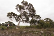 Вид збоку Дроворуб потягнувши мотузка в лісі — стокове фото