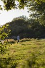 Woman walking near riverside on a sunny day — Stock Photo