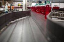 Бутылки с красным соком на производственной линии в обрабатывающей промышленности — стоковое фото