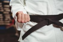 Средняя секция игрока в карате, выступающего в фитнес-студии — стоковое фото